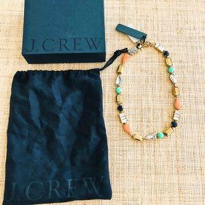 J. Crew Crystal Streamer multicolor necklace, BNWT
